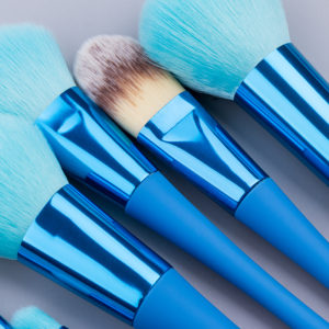 Soft Blue Plastic Handle Makeup Brush Set